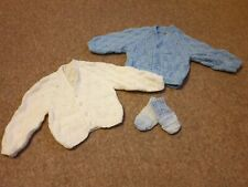 Baby Boys Handmade Knitted Cardigans And Mittens New Born - 0-3months