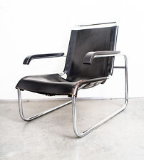 Mid Century Modern Lounge Chair B 35 Marcel Breuer Thonet Black Leather Chrome