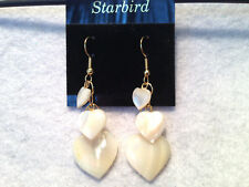 WHITE MOTHER OF PEARL HEART DANGLE EARRINGS 80's VINTAGE