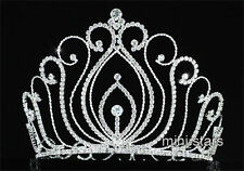 "Vintage Style Pageant Tall 5.25"" Tiara Full Circle Round Crystal Crown AT1725"