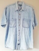 Guess Men's Shirt Top Light Blue Size Small 100% Cotton Vintage 90s Denim VGC