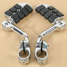 "Chrome Long Angled Highway Foot Pegs Rest For 32mm 1 1/4"" 1.25"" Engine Guard Bar"