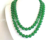 """Natural 10mm round green jade beads necklace 35"""" JN2157"""