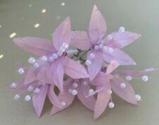 5Wedding Prom Light Pink Lily Flower Hair Pins Clips Grips handmade