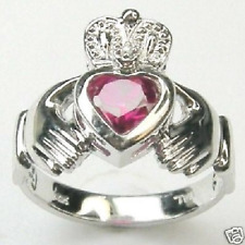 DIAMOND CLADDAGH CREATED RED RUBY RING 14K WHITE GOLD