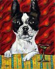 BOSTON TERRIER MARTINI art gift POSTER dog   abstract folk 13x19 GLOSSY PRINT