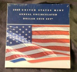 2008 US Mint Annual Uncirculated Dollar Coin Set 2008 W Silver Eagle  UNOPENED