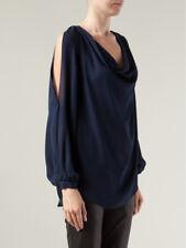 Haute Hippie Blue Midnight Split Sleeve Silk Blouse Top $275.00 Size S