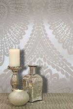 Damask Glitter Vinyl Wallpaper Karla Metallic Taupe White Silver Grandeco Life