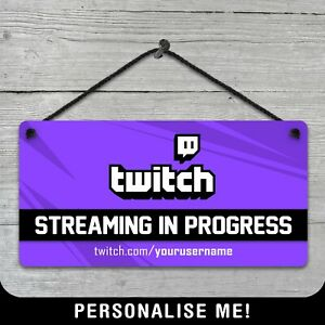 Personalised Hanging Twitch Streamer Metal Plaque Gamer Bedroom Sign Xbox PC PS5
