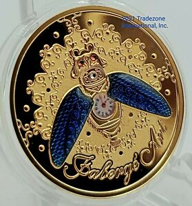 Niue 2021 - Beetle Watch - Faberge Art - 24k Gold Plated Silver Coin - Exquisite