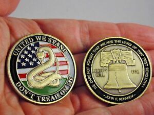 Don't Tread on Me Challenge Coin - Gadsden Flag collectible coin.  2nd amendment