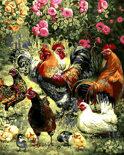 """16x20"""" DIY Acrylic Paint By Number kit Oil Painting On Canvas Chicken Rooster 59"""