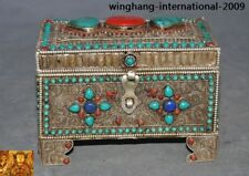 Tibetan Buddhism silver Gilt Filigree Inlay turquoise Coral gem Relic Box Boxes
