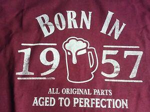 'BORN IN 1957' MAROON MEN'S T-SHIRT