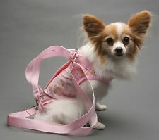 PINK COTTON Flowers Hearts pet small dog carrier harness sling puppy purse M,