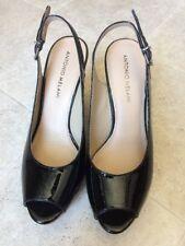 Antonio Melani Platform Wedges Leather Upper Women Shoes Slipback Black 6 1/2M