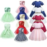 Flower Girl Baby Sequins Princess Toddler Dress Party Wedding Pageant Bow Dress