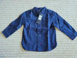 New Tommy Hilfiger Little Boys 18 Months Navy Blue Dress Shirt Button Down 8M