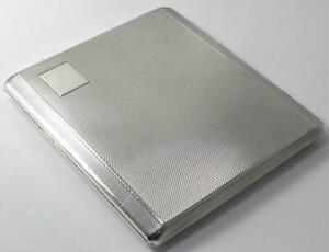 "Solid Sterling Silver Cigarette / Card Case (3 ¾"" x 3 ¼"")–Hallmarked 1964 (130g)"