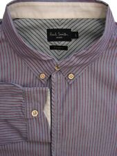 PAUL SMITH JEANS Shirt Mens 16.5 L Blue - Red Stripes TAILORED FIT
