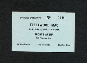 Original 1973 Fleetwood Mac Concert Ticket Stub Atlanta Sports Arena Rare