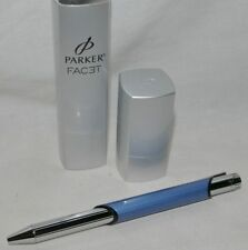 Parker Facet Steel Blue CT Chrome Trim Fine Rollerball Pen W/ Case Model 1748316