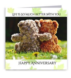 Cute Teddy Bears Anniversary Card