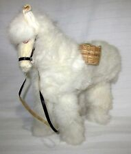 "Llama Rabbit Fur Covered White Hand-Crafted 12"" X 15"""