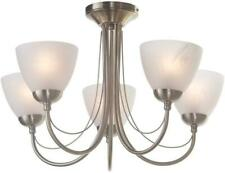 Antique Brass Alabaster Ceiling Light Chandelier 5 Arm Fitting with Glass Shades