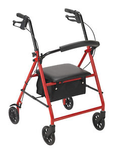 "Drive Medical R800 Red Rollator with 6"" Wheels ~SAME DAY FREE SHIPPING ~NEW~"