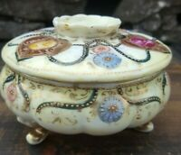 Antique hand painted pointed Royal Kinran Nippon, Porcelain decorative lidded di