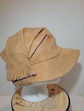 Vintage Ladies Soft Genuine Beige Suede Driver's Hat with Fringe Estate Sale