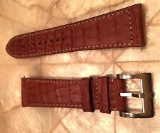 MENS AUTHENTIC MICHELE BROWN + WHITE STITCHING 24MM ALLIGATOR WATCH BAND - $250