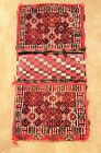 VINTAGE AUTHENTIC HAND WOVEN AFGHAN THICK WOOL CARPET SADDLE BAG. CENTRAL ASIA.