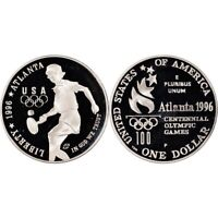 1996 P PROOF Tennis Olympics Commemorative Silver Dollar , Boc & CoA  US Coin