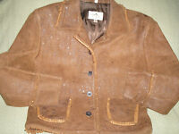 NICE Ladies Distressed Brown Leather Fringe Scully Western Jacket Coat sz L