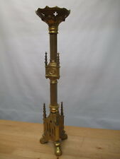 "c1900 FRENCH ORMOLU BRONZE BRASS CHURCH PASCHAL ALTAR 27"" CANDLESTICK GOTHIC"