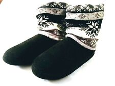 MUK LUKS Women's Vintage Star Snowflake Slipper Boot Small Indoor House NEW