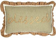 Blessed Pillow Lace Trim Ruffled Embroidered Green Ticking Stripe Prairie Winds