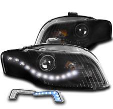 FOR 05-09 AUDI A4 S4 B7 DRL LED BLACK PROJECTOR HEADLIGHT LAMP W/BLUE DRL SIGNAL