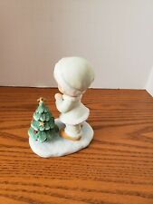 Homco Girl In Pale Green Santa Suit Praying At Tree With Cross Topper 4""