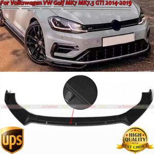 Carbon Fiber Front Bumper Lip Spoiler Fits Volkswagen Golf MK7 MK7.5 GTI R 14-19