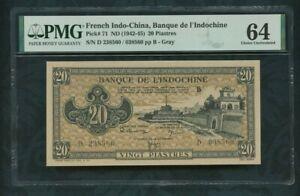 1942 - 1945    pick 71   20 piastres   French Indo-china / Viet Nam   PMG 64