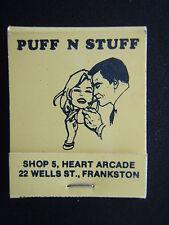 PUFF N STUFF SHOP 5 HEART ARCADE 22 WELLS FRANKSTON 7833461 CREAM MATCHBOOK