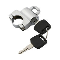 Universal Chrome Helmet Lock Fit 25mm Handlebar Hanger Hook with 2 Keys Set