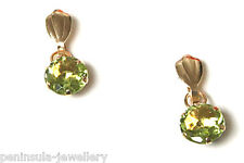 9ct Gold Peridot round Drop Earrings Made in UK Gift Boxed