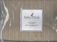 Nautica Brewster Stripe Tan Brown Blue King Flat Sheet 1st Quality New