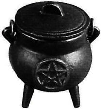 "Cast Iron Cauldron With Pentagram  3.5 "" Tall Includes Lid - Three Legged"