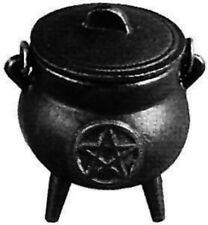"Cast Iron Cauldron With Pentagram  3.5 "" Tall Includes Lid - Three Legged"